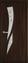 Межкомнатные двери Камея со стеклом сатин и рисунком Р1, Экошпон  Орех 3D
