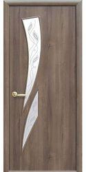 Межкомнатные двери Камея со стеклом сатин и рисунком, ПВХ DeLuxe Золотая ольха