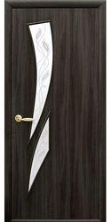 Межкомнатные двери Камея со стеклом сатин и рисунком, Экошпон  Кедр