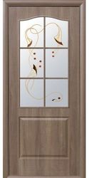 Межкомнатные двери Классик со стеклом сатин и рисунком, ПВХ DeLuxe Золотая ольха
