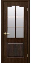 Межкомнатные двери Классик со стеклом сатин, ПВХ DeLuxe Орех premium