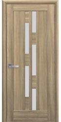 Межкомнатные двери Лаура со стеклом сатин, ПВХ DeLuxe Золотой дуб