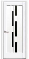 Межкомнатные двери Лаура с черным стеклом, Premium Белый матовый