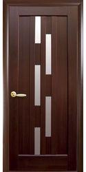 Межкомнатные двери Лаура со стеклом сатин, ПВХ DeLuxe Каштан