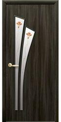 Межкомнатные двери Лилия со стеклом сатин и рисунком, Экошпон  Кедр