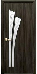 Межкомнатные двери Лилия со стеклом сатин и рисунком Р2, Экошпон  Кедр