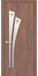 Межкомнатные двери Лилия со стеклом сатин и рисунком, Экошпон  Ольха 3D