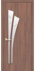 Межкомнатные двери Лилия со стеклом сатин и рисунком Р2, Экошпон  Ольха 3D