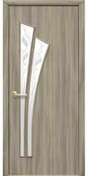 Межкомнатные двери Лилия со стеклом сатин и рисунком Р2, Экошпон  Сандал