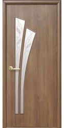 Межкомнатные двери Лилия со стеклом сатин и рисунком Р2, ПВХ DeLuxe Золотая ольха
