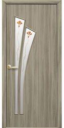 Межкомнатные двери Лилия со стеклом сатин и рисунком Р1, Экошпон  Сандал