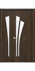 Межкомнатные двери Лилия со стеклом сатин и рисунком, ПВХ DeLuxe Венге New