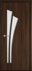 Межкомнатные двери Лилия со стеклом сатин, Экошпон  Орех 3D