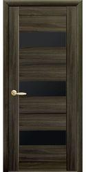 Межкомнатные двери Лилу с черным стеклом, Экошпон  Кедр