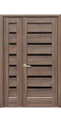 Двойные межкомнатные двери Линнея с черным стеклом, ПВХ DeLuxe Золотая ольха