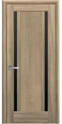 Межкомнатные двери Луиза с черным стеклом, ПВХ DeLuxe Золотой дуб