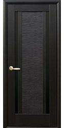 Межкомнатные двери Луиза с черным стеклом, ПВХ DeLuxe Венге new
