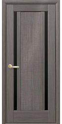 Межкомнатные двери Луиза с черным стеклом, ПВХ DeLuxe Серый