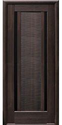 Межкомнатные двери Луиза с черным стеклом, ПВХ DeLuxe Каштан