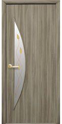 Межкомнатные двери Луна со стеклом сатин и рисунком Р1, Экошпон  Сандал