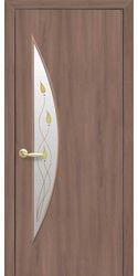 Межкомнатные двери Луна со стеклом сатин и рисунком Р1, Экошпон  Ольха 3D