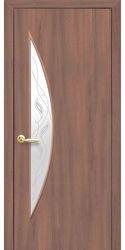Межкомнатные двери Луна со стеклом сатин и рисунком Р2, ПВХ DeLuxe Ольха 3D