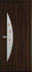 Межкомнатные двери Луна со стеклом сатин и рисунком, Экошпон  Орех 3D