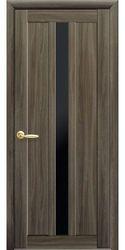 Межкомнатные двери Марти с черным стеклом, Экошпон  Кедр