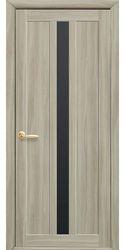 Межкомнатные двери Марти с черным стеклом, Экошпон  Сандал