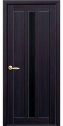 Межкомнатные двери Марти с черным стеклом, Экошпон  Венге DeWild