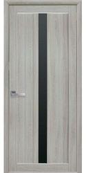 Межкомнатные двери Марти с черным стеклом, Экошпон  Ясень патина