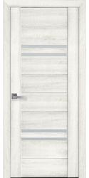 Межкомнатные двери Мерида со стеклом сатин, ПВХ ДеЛюкс Ясень New