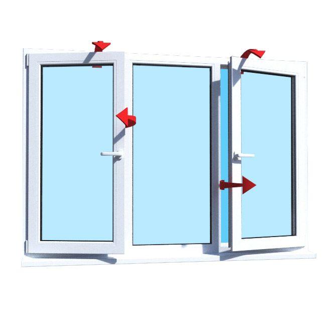 Металлопластиковое окно KBE трехстворчатое два открывания 2060х1400 мм,