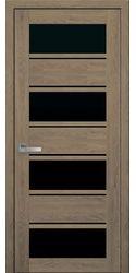 Межкомнатные двери Элиза с черным стеклом, ПВХ Ultra дуб медовый