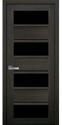 Межкомнатные двери Элиза с черным стеклом, ПВХ Ultra дуб мускат