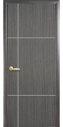 Межкомнатные двери Ника silver глухое с гравировкой Silver, ПВХ DeLuxe Серый