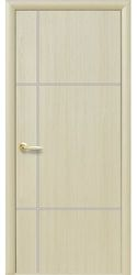 Межкомнатные двери Ника silver глухое с гравировкой Silver, ПВХ DeLuxe Ясень