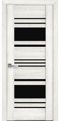 Межкомнатные двери Ницца с черным стеклом, ПВХ ДеЛюкс Ясень New