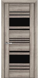 Межкомнатные двери Ницца с черным стеклом, ПВХ Viva Бук Баварский