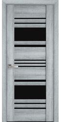 Межкомнатные двери Ницца с черным стеклом, ПВХ Viva Бук Кашемир