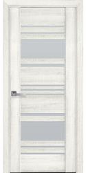 Межкомнатные двери Ницца со стеклом сатин, ПВХ ДеЛюкс Ясень New