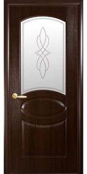 Межкомнатные двери Овал со стеклом сатин и рисунком, ПВХ DeLuxe Каштан