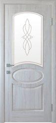 Межкомнатные двери Овал со стеклом сатин и рисунком, ПВХ DeLuxe Ясень New