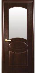 Межкомнатные двери Овал со стеклом сатин, ПВХ DeLuxe Каштан