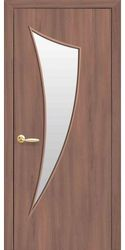 Межкомнатные двери Парус со стеклом сатин, Экошпон  Ольха 3D