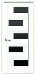 Межкомнатные двери Пиана с черным стеклом, ПВХ DeLuxe Белый матовый