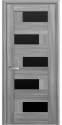 Межкомнатные двери Пиана с черным стеклом, ПВХ DeLuxe Бук Пепельный