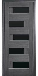 Межкомнатные двери Пиана с черным стеклом, ПВХ DeLuxe Серый