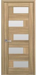Межкомнатные двери Пиана со стеклом сатин, ПВХ DeLuxe Золотой дуб