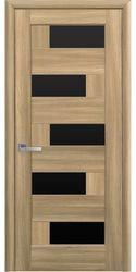 Межкомнатные двери Пиана с черным стеклом, ПВХ DeLuxe Золотой дуб
